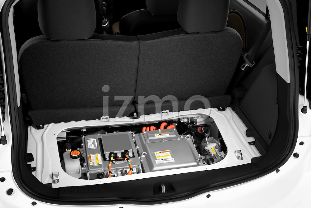 Electric vehicle battery compartment on a 2012 Mitsubishi MiEV SE