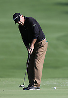17th October 2020; Richmond, Virginia, USA;  Joey Sindelar sinks a putt on the first green during the Dominion Energy Charity Classic on October 17, 2020, at The Country Club of Virginia James River Course in Richmond