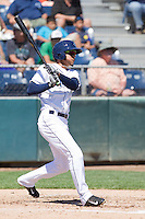 Luis Liberato (2) of the Everett Aquasox at bat during a game against the Vancouver Canadian at Everett Memorial Stadium in Everett, Washington on July 28, 2015.  Everett defeated Vancouver 8-5. (Ronnie Allen/Four Seam Images)