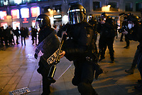 MADRID, SPAIN - FEBRUARY 17:  Police officers block the street as People Attend a demonstration against the imprisonment of Spanish rapper Pablo Hasel on February 17 in Madrid, Spain.  (Photo by Joan Amengual / VIEWpress