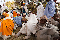 the Lalibela people seat tired after the Timkat Lalibela celebrations Ethiopia