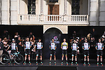 Team BikeExchange on stage at team presentation of the 2021 Giro d'Italia inside the Cortile d'Onore of the Castello del Valentino, on the occasion of the 160th anniversary of the Unification of Italy, Turin, Italy. 6th May 2021.  <br /> Picture: LaPresse/Fabio Ferrari | Cyclefile<br /> <br /> All photos usage must carry mandatory copyright credit (© Cyclefile | LaPresse/Fabio Ferrari)