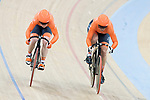 The team of Netherlands with Shanne Braspennincx and Kyra Lamberink compete in Women's Team Sprint - Qualifying match as part of the 2017 UCI Track Cycling World Championships on 12 April 2017, in Hong Kong Velodrome, Hong Kong, China. Photo by Victor Fraile / Power Sport Images