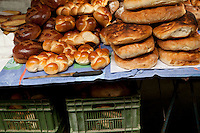 Loaves of Zopf (loaves second from left) and other bread at a bakery stall, Schauplatzgasse, Bern, Switzerland, 27 August 2011