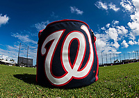 22 February 2019: A Washington Nationals Baseball Bag sits ready during a Spring Training workout at the Ballpark of the Palm Beaches in West Palm Beach, Florida. Mandatory Credit: Ed Wolfstein Photo *** RAW (NEF) Image File Available ***