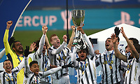 Football: Super Cup Final Juventus vs Napoli at Mapei Stadium in Reggio Emilia, on January 20,  2021.<br /> Juventus' Weston McKennie lifts the winners' trophy to celebrate with teammates after Juventus won 2-0  the Italian Super Cup Final match between Juventus and Napoli at Mapei Stadium in Reggio Emilia, on January 20,  2021.<br /> UPDATE IMAGES PRESS/Isabella Bonotto