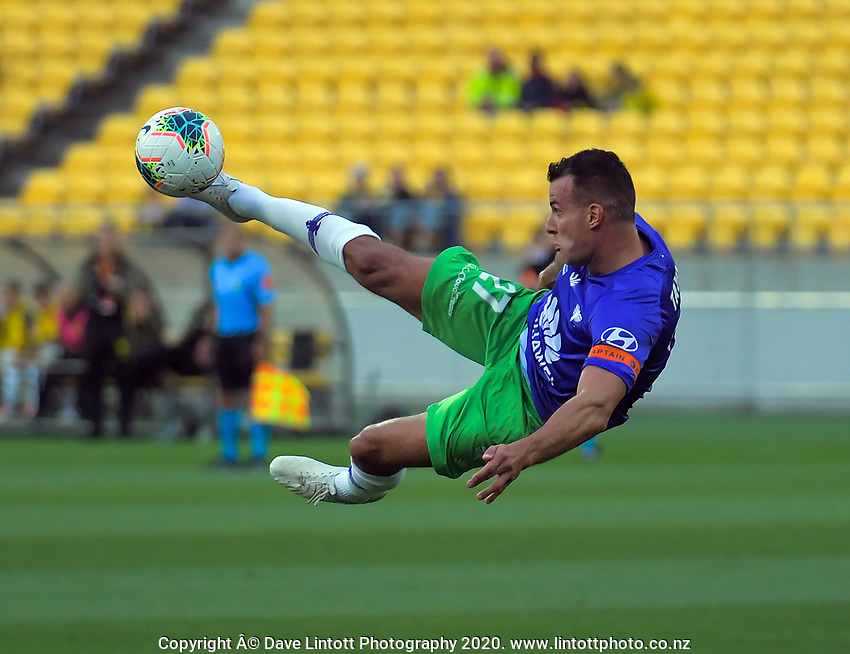 Steven Taylor shoots for goal during the A-League football match between Wellington Phoenix and Western United FC at Sky Stadium in Wellington, New Zealand on Friday, 21 February 2020. Photo: Dave Lintott / lintottphoto.co.nz