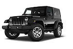 Stock pictures of low aggressive front three quarter view of a 2015 JEEP Wrangler Rubicon 3 Door Suv 4WD Low Aggressive