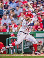 6 April 2015: Washington Nationals outfielder Bryce Harper at bat during the Home Opening Game against the New York Mets at Nationals Park in Washington, DC. The Mets rallied to defeat the Nationals 3-1 in their first meeting of the 2015 MLB season. Mandatory Credit: Ed Wolfstein Photo *** RAW (NEF) Image File Available ***