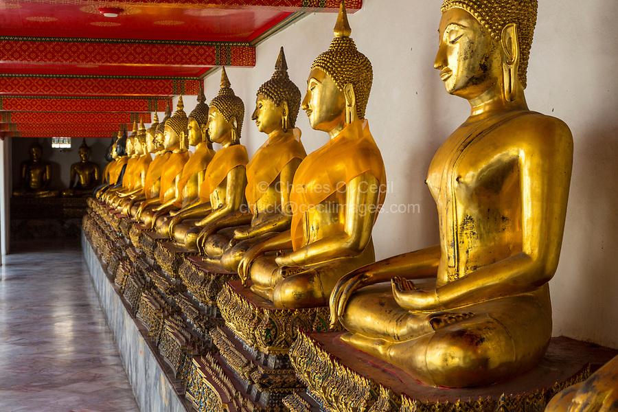"""Bangkok, Thailand.  Buddhas in the South Pavilion of the Wat Pho (Reclining Buddha) Temple Complex.  The Buddhas are demonstrating the """"earth witness"""" mudra (gesture)."""