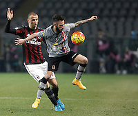 Calcio, quarti di finale di Coppa Italia: Alessandria vs Milan. Torino, stadio Olimpico, 26 gennaio 2016.<br /> AC Milan's Luca Antonelli, left, and Alessandria's Manuel Marras fight for the ball during the Italian Cup semifinal first leg football match between Alessandria and AC Milan at Turin's Olympic stadium, 26 January 2016.<br /> UPDATE IMAGES PRESS/Isabella Bonotto