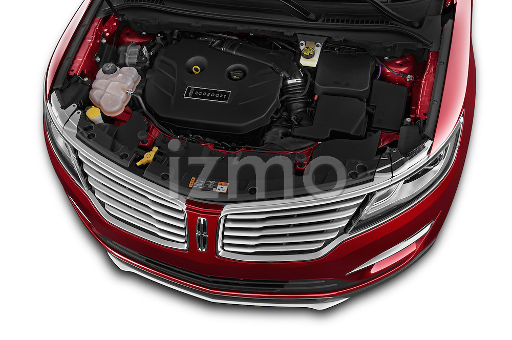 Car Stock 2018 Lincoln MKC FWD 5 Door SUV Engine high angle detail view