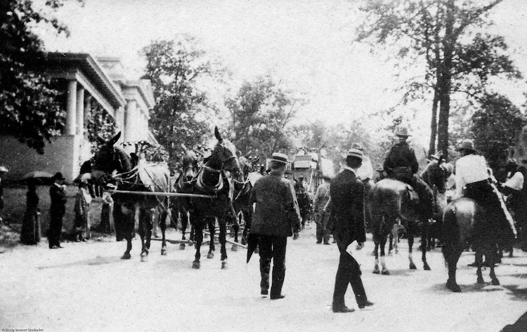 St Louis MO:  A view of the 20-Mule Team as part of the daily parades sponsored by the Cummins Indian Congress show.