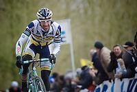 Gent-Wevelgem 2013.Juan Antonio Flecha (ESP) charging up the Kemmelberg