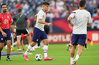 NASHVILLE, TN - SEPTEMBER 5: Christian Pulisic #10 of the United States dribbles with the ball before a game between Canada and USMNT at Nissan Stadium on September 5, 2021 in Nashville, Tennessee.
