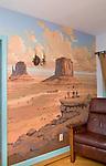 Living room. Desert wallpaper. California