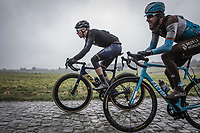 Casper Pedersen (DEN/Aqua Blue) and Gediminas Bagdonas (LTU/AG2R la Mondiale) on the cobbles. <br /> <br /> 73th Dwars Door Vlaanderen (1.UWT)<br /> 1day race: Roeselare › Waregem BEL (180km)