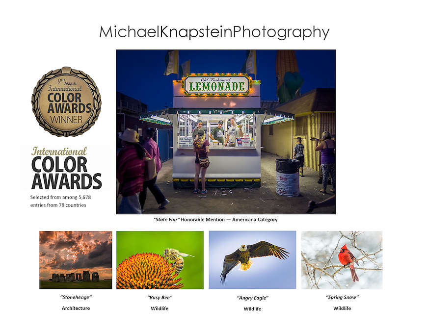 Michael Knapstein had five photographs recognized in the 9th Annual International Color Awards. They included Honorable Mention in the Americana Category. The competition received nearly 6,000 entries from 72 different countries.