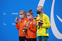 26th August 2021; Tokyo, Japan; Silver medalist BERRA Alessia (ITA), gold medalist GILLI Carlotta (ITA), and bronze medalist PIKALOVA Daria (RPC) celebrate on the podium for the Swimming : Women's 100m Butterfly - S13 Final - Medal Ceremony on August 26, 2021 during the Tokyo 2020 Paralympic Games at the Tokyo Aquatics Centre in Tokyo, Japan.