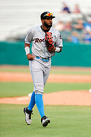 Rocket City Trash Pandas right fielder Izzy Wilson (9) jogs to the dugout during the game against the Tennessee Smokies at Smokies Stadium on July 2, 2021, in Kodak, Tennessee. (Danny Parker/Four Seam Images)