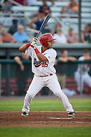 Auburn Doubledays designated hitter Wilmer Perez (45) at bat during a game against the Hudson Valley Renegades on September 5, 2018 at Falcon Park in Auburn, New York.  Hudson Valley defeated Auburn 11-5.  (Mike Janes/Four Seam Images)