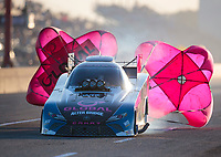 Oct 19, 2019; Ennis, TX, USA; NHRA funny car driver Shawn Langdon during qualifying for the Fall Nationals at the Texas Motorplex. Mandatory Credit: Mark J. Rebilas-USA TODAY Sports