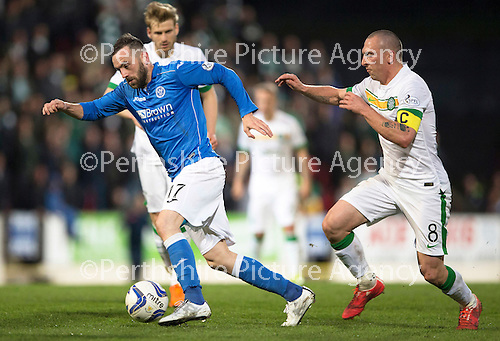 St Johnstone v Celtic...15.05.15   SPFL<br /> James McFadden is closed down by Scott Brown<br /> Picture by Graeme Hart.<br /> Copyright Perthshire Picture Agency<br /> Tel: 01738 623350  Mobile: 07990 594431