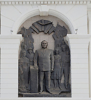 A sculpture of Nursultan Nazaarbayev in Astana, the capitol of Kazakstan.<br /> <br /> PHOTO BY RICHARD JONES/SINOPIX