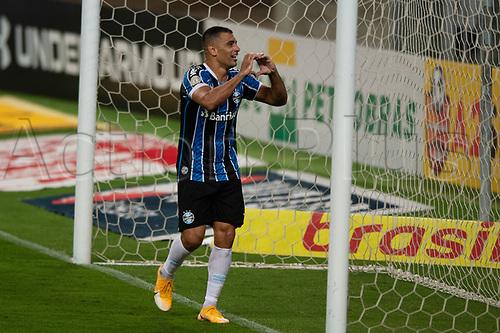 14th November 2020; Arena de Gremio, Porto Alegre, Brazil; Brazilian Serie A, Gremio versus Ceara; Diego Souza of Gremio celebrates his goal in the 40th minute 3-1