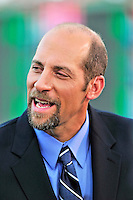 8 June 2010: Former Atlanta Braves pitcher John Smoltz prepares for a broadcast of a game between the Washington Nationals and the Pittsburgh Pirates at Nationals Park in Washington, DC. The Nationals defeated the Pirates 5-2 in the series opener where pitching sensation Stephen Strasburg made his Major League debut, striking out 14 batters and notching his first win in the majors. Mandatory Credit: Ed Wolfstein Photo