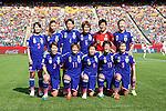 Japan team group line-up (JPN), JULY 1, 2015 - Football / Soccer : Japan team group (L-R) Aya Sameshima, Rumi Utsugi, Saki Kumagai, Mizuho Sakaguchi, Ayumi Kaihori, Yuki Ogimi, front; Azusa Iwashimizu, Shinobu Ohno, Aya Miyama, Saori Ariyoshi, Nahomi Kawasumi pose before the FIFA Women's World Cup Canada 2015 Semi-final match between Japan 2-1 England at Commonwealth Stadium in Edmonton, Canada. (Photo by AFLO)