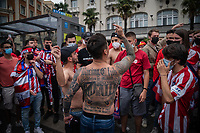 Fans gather after Atletico Madrid have won La Liga for the first time since 2014