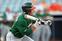 """Miami Hurricanes Nathan Melendres #10 during a game vs. the University of South Florida Bulls in the """"Florida Four"""" at George M. Steinbrenner Field in Tampa, Florida;  March 1, 2011.  USF defeated Miami 4-2.  Photo By Mike Janes/Four Seam Images"""