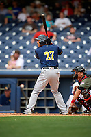 New Orleans Baby Cakes right fielder Moises Sierra (27) at bat during a game against the Nashville Sounds on April 30, 2017 at First Tennessee Park in Nashville, Tennessee.  The game was postponed due to inclement weather in the fourth inning.  (Mike Janes/Four Seam Images)