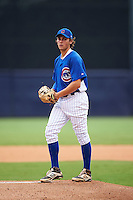 Pitcher Karl Kauffman (38) of Brother Rice High School in Bloomfield HIlls, Michigan playing for the Chicago Cubs scout team during the East Coast Pro Showcase on July 29, 2015 at George M. Steinbrenner Field in Tampa, Florida.  (Mike Janes/Four Seam Images)