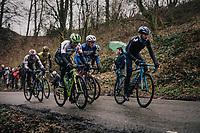 A very active Alejandro Valverde (ESP/Movistar) constantly showing himself on the front, like here on the Trieu with Edvald Boasson Hagen (NOR/Dimension Data), Yves Lampaert (BEL/Quick Step Floors) & Zdenek Stybar (CZE/Quick-Step Floors)<br /> <br /> 73rd Dwars Door Vlaanderen 2018 (1.UWT)<br /> Roeselare - Waregem (BEL): 180km