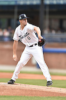 Asheville Tourists starting pitcher Ryan Castellani (6) delivers a pitch during a game against the Rome Braves on May 17, 2015 in Asheville, North Carolina. The Tourists defeated the Braves 9-8. (Tony Farlow/Four Seam Images)