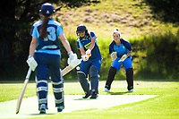 Action from the Joy Lamason Trophy women's cricket match between Johnsonville and Hutt District at Grenada North Park in Wellington, New Zealand on Saturday, 9 January 2021. Photo: Dave Lintott / lintottphoto.co.nz