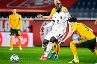 24th March 2021; Leuven, Belgium;  Romelu Lukaku  of Belgium shoots during the World Cup Qatar 2022 Qualifiers Match between Belgium and Wales on March 24, 2021 in Leuven, Belgium