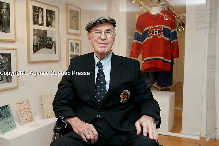 """Montreal (qc) CANADA - October 2008 -<br /> Emile """"<br /> Butch """" Bouchard, Montreal Canadien Hockey Legend<br /> visit an exbition at L'ecomusee du Fiers Monde on Amherst Street in Montreal"""