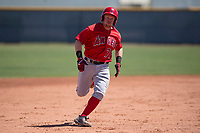 Los Angeles Angels second baseman Zane Gurwitz (71) hustles to third base during an Extended Spring Training game against the Chicago Cubs at Sloan Park on April 14, 2018 in Mesa, Arizona. (Zachary Lucy/Four Seam Images)
