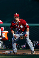 Matt Oberste #14 of the Oklahoma Sooners during a game against the UCLA Bruins at Jackie Robinson Stadium on March 9, 2013 in Los Angeles, California. (Larry Goren/Four Seam Images)