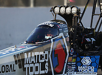 Feb 8, 2020; Pomona, CA, USA; NHRA top fuel driver Antron Brown during qualifying for the Winternationals at Auto Club Raceway at Pomona. Mandatory Credit: Mark J. Rebilas-USA TODAY Sports