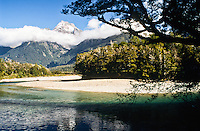 Hollyford River with Mt. Tutoko in the background - Hollyford Track - Fiordland NP, Southland, New Zealand