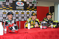 Winner Josh Brookes of Anvil Hire Tag Racing during the press conference with second place Jason O'Halloran of Honda Racing (Left) and Third place James Ellison of McAMS Yamaha (Right) after the Final of the MCE British Superbikes in Association with Pirelli round 12 2017 - BRANDS HATCH (GP) at Brands Hatch, Longfield, England on 15 October 2017. Photo by Alan  Stanford / PRiME Media Images.