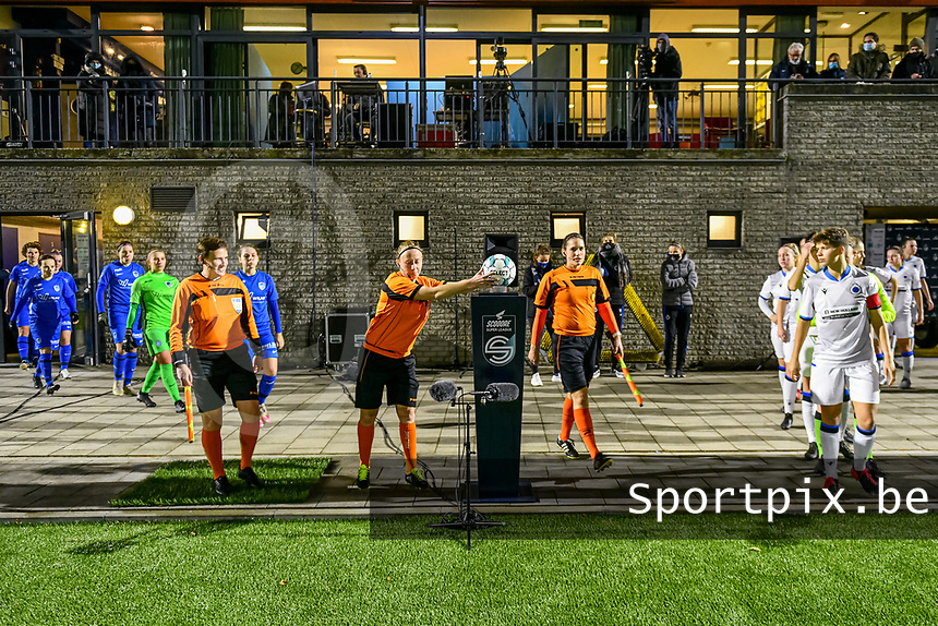 Referees and players entering the field before a female soccer game between  Racing Genk Ladies and Club Brugge YLA on the 10 th matchday of the 2020 - 2021 season of Belgian Scooore Womens Super League , friday 18 th of December 2020  in Genk , Belgium . PHOTO SPORTPIX.BE | SPP | STIJN AUDOOREN