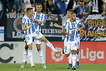 CD Leganes' Rodrigo Tarin, Youssef En-Nesyri, Nabil El Zhar and Oscar Rodriguez Arnaiz celebrate goal during La Liga match. September 26,2018. (ALTERPHOTOS/Acero)