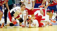 Rene Toft Hansen (L) and Mikkel Hansen (R) of Denmark in action during men`s EHF EURO 2012 handball championship final game between Serbia and Denmark in Belgrade, Serbia, Sunday, January 29, 2011.  (photo: Pedja Milosavljevic / thepedja@gmail.com / +381641260959)