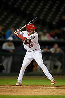 Peoria Chiefs first baseman Stefan Trosclair (28) at bat during a game against the West Michigan Whitecaps on May 8, 2017 at Dozer Park in Peoria, Illinois.  West Michigan defeated Peoria 7-2.  (Mike Janes/Four Seam Images)
