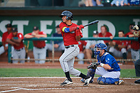 Lenyn Sosa (2) of the Great Falls Voyagers bats against the Ogden Raptors at Lindquist Field on August 21, 2018 in Ogden, Utah. Great Falls defeated Ogden 14-5. (Stephen Smith/Four Seam Images)